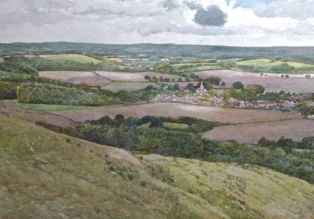 South Harting from Harting Down. Watercolour 52x73cm
