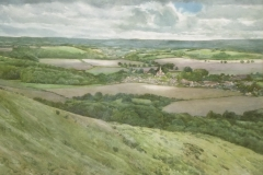 South Harting from Harting Down. Watercolour, 52x73cm.