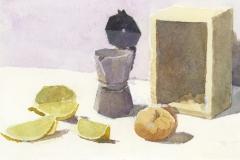 Lemon, coffee pot & onion